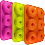 3 Pack Silicone Donut Molds, FineGood 6 Cavity Non-Stick Full-Sized Safe Baking Tray Maker Pan Heat Resistance for Cake Biscuit Bagels Muffins-Orange, Rose Red, Green