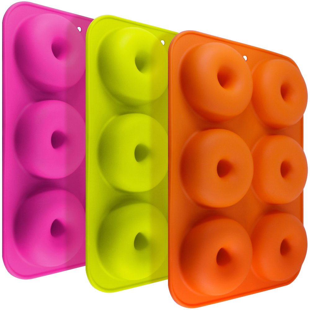 3 Pack Silicone Donut Molds, FineGood 6 Cavity Non-Stick Safe Baking Tray Maker Pan Heat Resistance for Cake Biscuit Bagels Muffins-Orange, Rose Red, Green