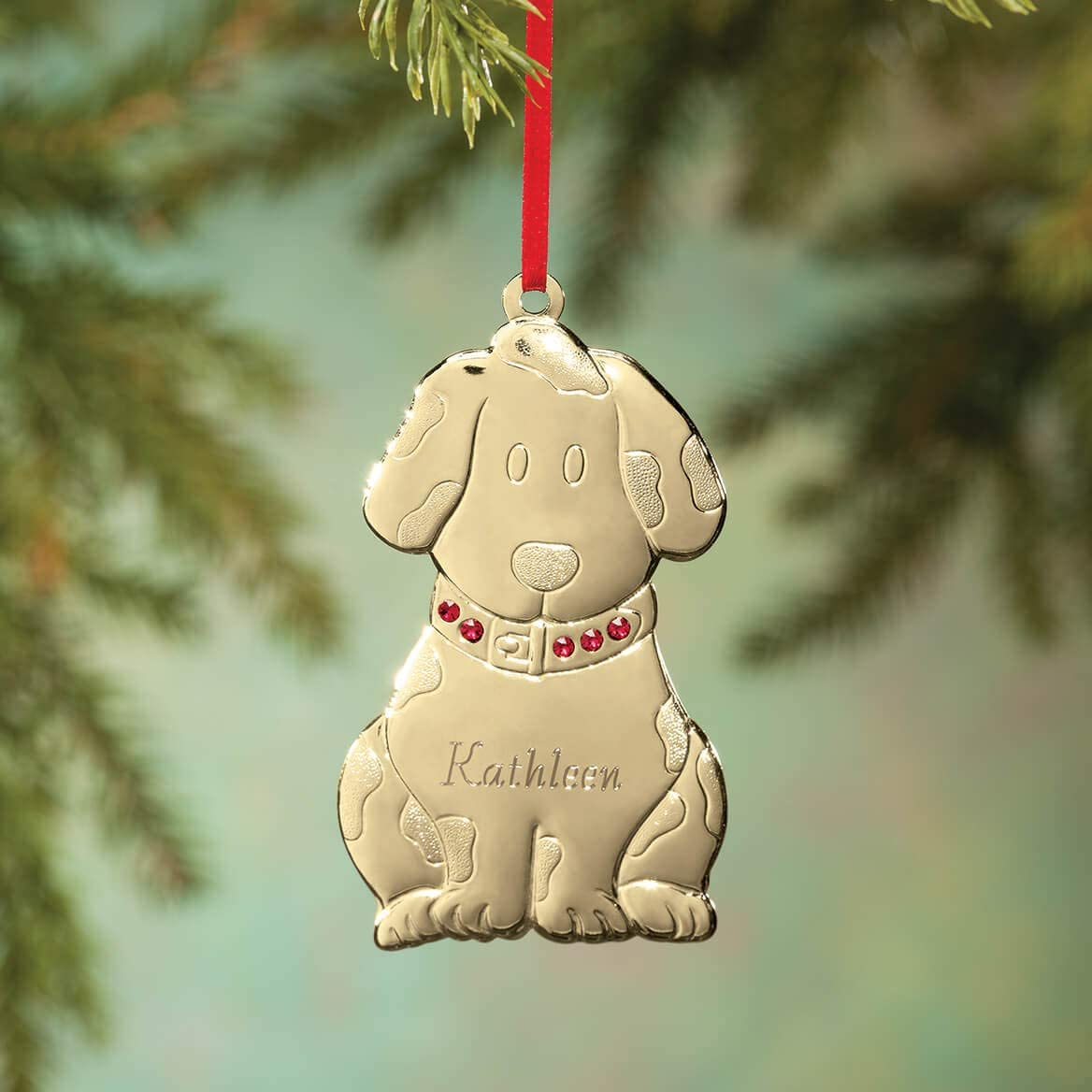 Fox Valley Traders Personalized Brass Birthstone Dog Ornament