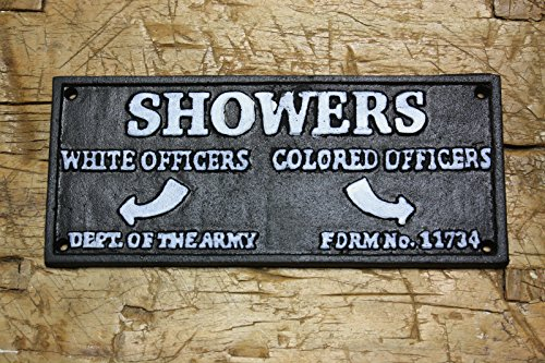 - Cast Iron Colored Officers Showers Black Americana DEPT. of The Army Plaque