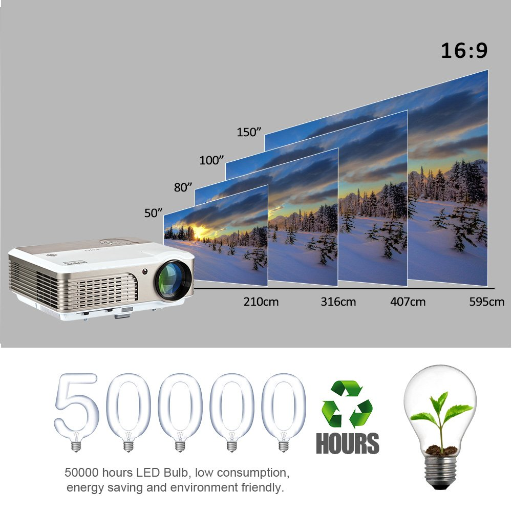 Amazoncom Eug Wifi Projector 1080p Support Hdmi Usb Vga Audio In X760 2500 Lumens High Resolution 1024 X 600 Tv Tunner Out 2600 Lumen Led Lcd Android Home Projectors Wireless For Ipad Iphone Cellphone