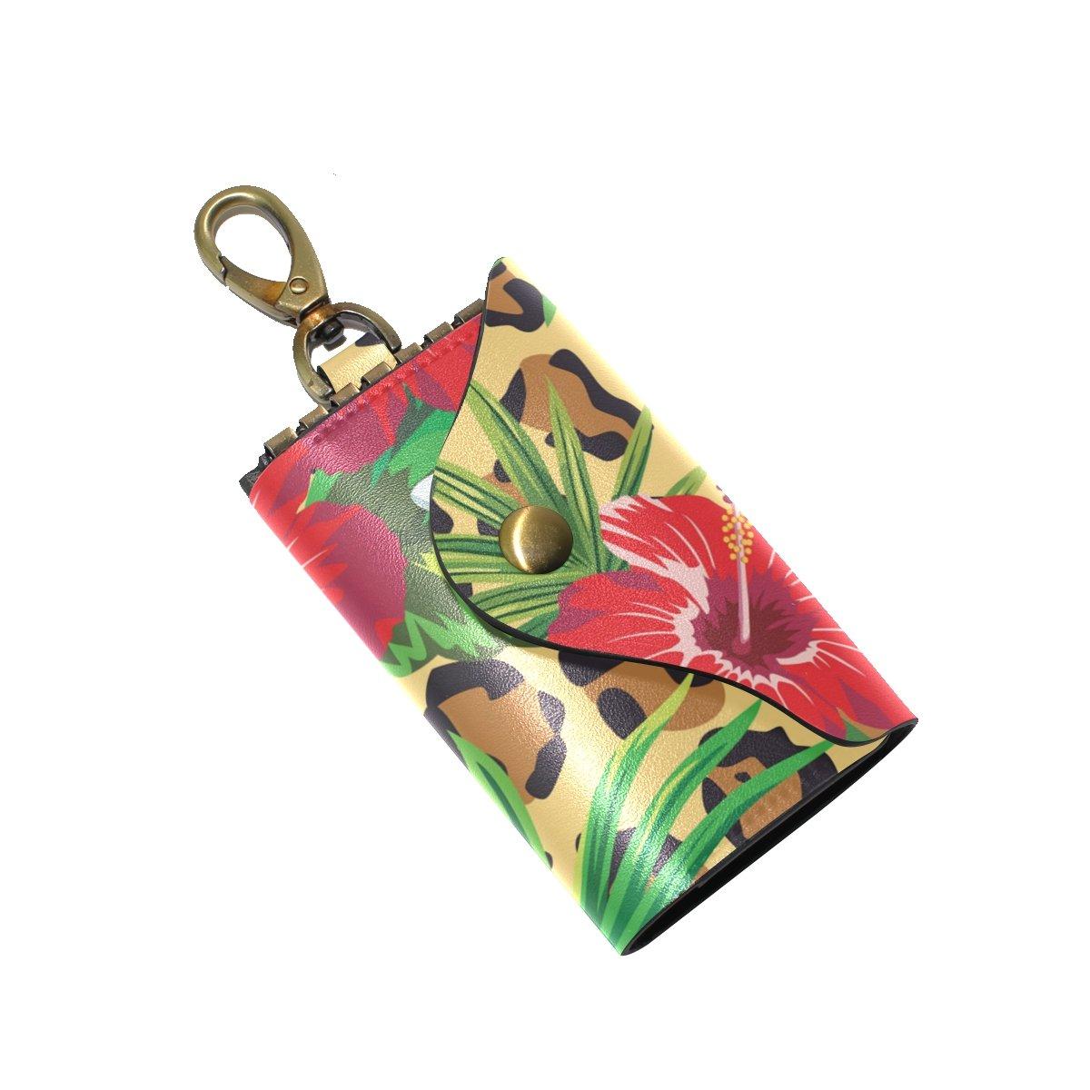 KEAKIA Leopard Leather Key Case Wallets Tri-fold Key Holder Keychains with 6 Hooks 2 Slot Snap Closure for Men Women