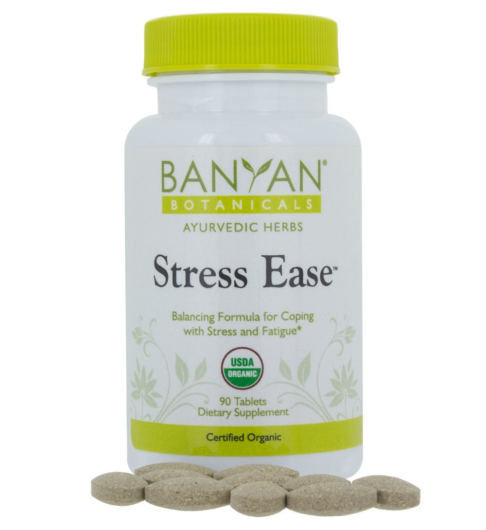 Banyan Botanicals Stress Ease - USDA Organic - 90 tablets - Herbal Formula for Adrenal & Mood Support, Relief for Worry, Fatigue & Restlessness* by Banyan Botanicals