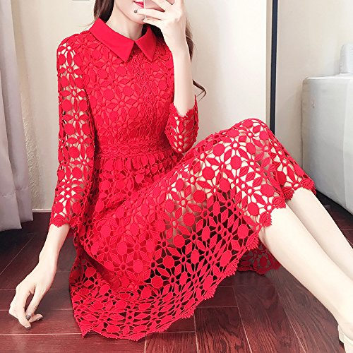 Rojo Spot Encaje En La Mujer Rojo L XL De Vestido Mangas Mangas ZHUDJ Largas Largas xFOqvZqH