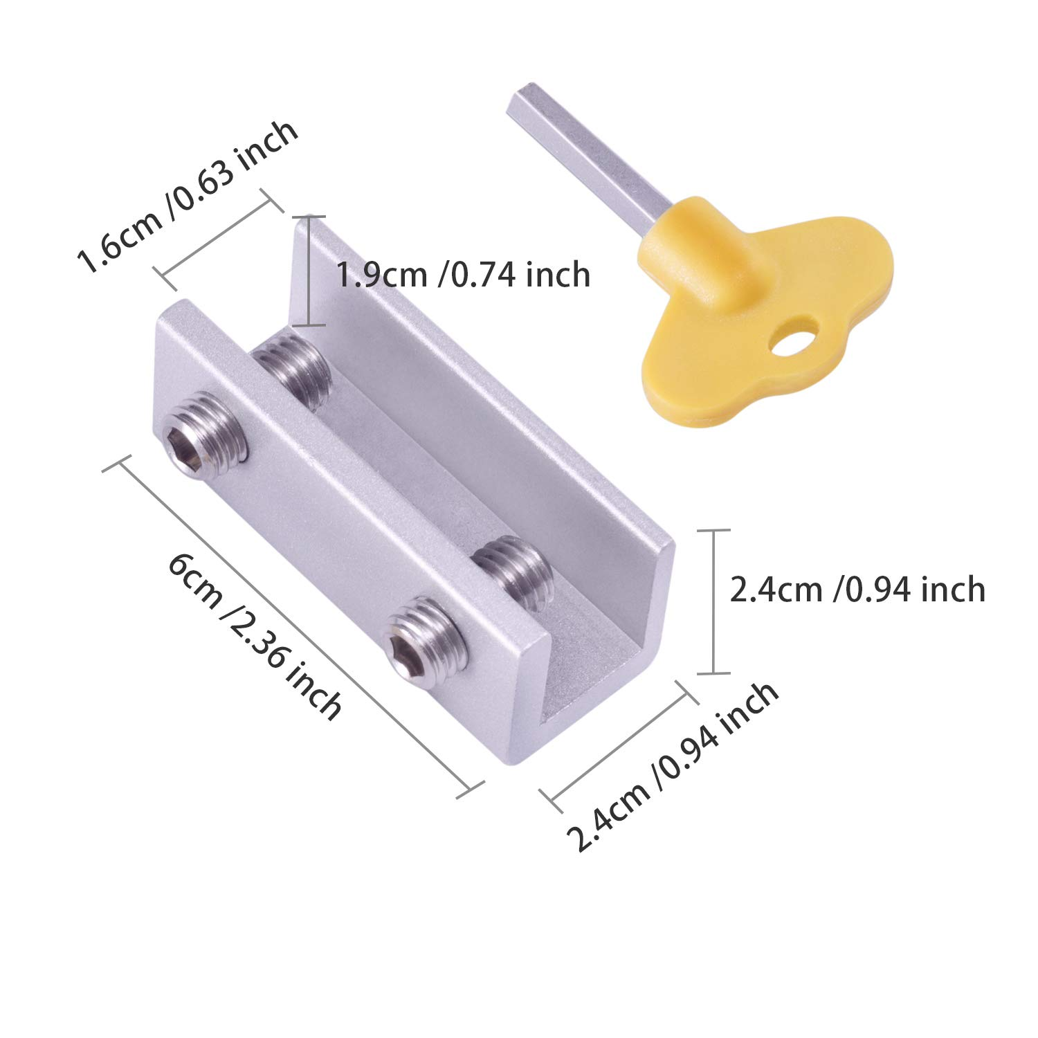 4 Single Hole and 2 Double Hole Favourde 6 Pieces Adjustable Sliding Window Locks Stops Aluminum Alloy Door Frame Security Lock with Keys