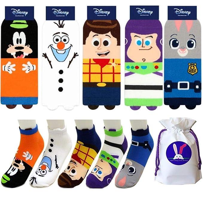 5pk Low-Cut SocksGoofy Toy Story Woody Frozen Olaf Toy Story Buzz Zootopia Judy
