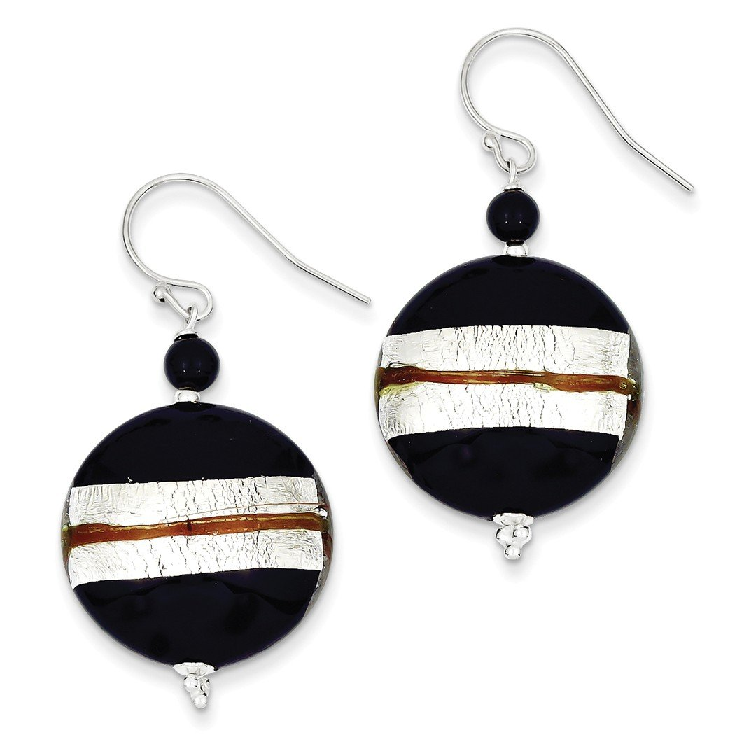 ICE CARATS 925 Sterling Silver Murano Glass Bead Black Onyx Wire Drop Dangle Chandelier Earrings Fine Jewelry Ideal Gifts For Women Gift Set From Heart