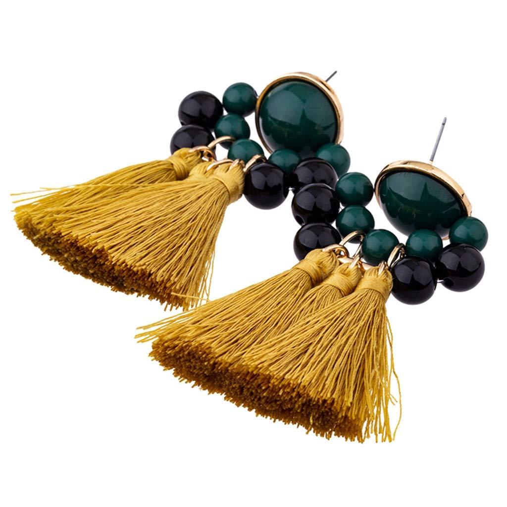 Creazrise Bohemian Statement Thread Tassel Chandelier Drop Dangle Earrings Vintage Inlaid Rhinestone Fringed Plush