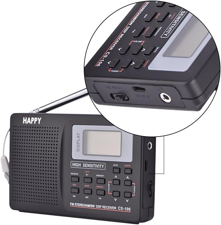Micro-USB f/ür US//CA//MX Tragbares Radio Speicherfunktion FM- // AW- // SW- // LW- // TV-Vollfrequenzempf/änger-Radio mit Kopfh/örerunterst/ützung f/ür Uhr//Wecker