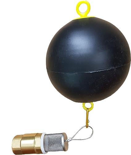 Flotador con rejilla de aspiración y válvula antirretorno para manguera de aspiración. Válvula de pie