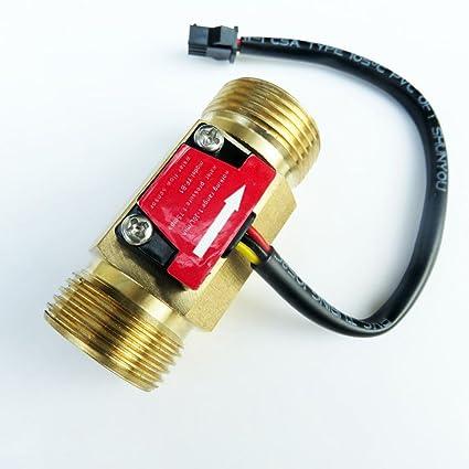 G3/4 Roscado Hall Caudalímetro Sensor Interruptor de Flujo de Agua Control Cobre
