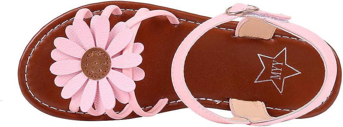 Kids Girls Cute Flower Open Toe Flat Strap Summer Sandals Toddler//Little Kid//Big Kid