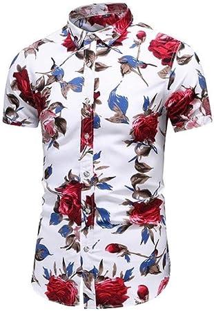 SGJKG Camisas con Estampado de Flores de Corte Slim para ...