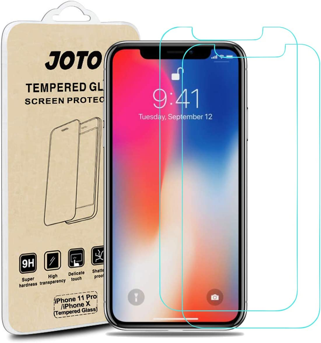 iPhone 11 Pro/iPhone Xs/X Tempered Glass Screen Protector, JOTO Tempered Glass Screen Film Guard Rounded Edge Real Glass Screen Protector for 5.8 inch Apple iPhone 11Pro/iPhone Xs-(2-Pack)
