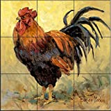 Ceramic Tile Mural - Rooster Rules II- by Barbara Mock - Kitchen backsplash / Bathroom shower
