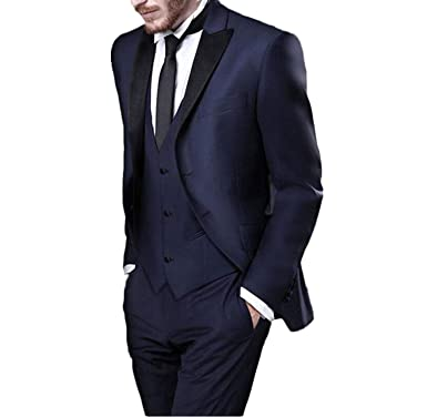 42c450e154e P.L.X Mens Suits Classic Fit Three Piece Prom Smoking Tuxedos Wedding  Formalwear Suit