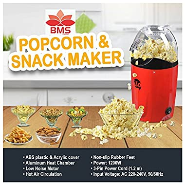 BMS Lifestyle 1200W Hot Air Snacks Maker, Use For Making Multip Oil Free Snacks,  with Measuring Cup and Removable Top Cover (Red) 7