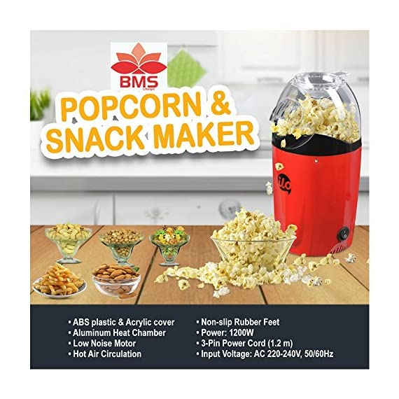 BMS Lifestyle 1200W Hot Air Snacks Maker, Use For Making Multip Oil Free Snacks,  with Measuring Cup and Removable Top Cover (Red) 2