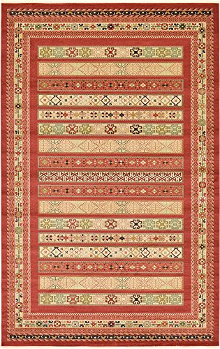 Casual Living Collection - Unique Loom Fars Collection Tribal Modern Casual Rust Red Area Rug (10' 6 x 16' 5)
