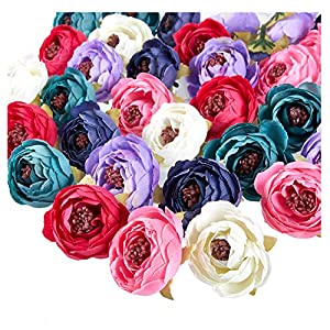 Juvale Peony Flower Heads - 60-Pack Artificial Flowers Wedding Decorations, Baby Showers, DIY Crafts, Mixed Colors, 1.6 x 1.6 x 1.2 inches 10