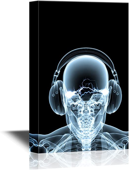 DJ Headphones Skull Music Framed CANVAS WALL ART Picture Print