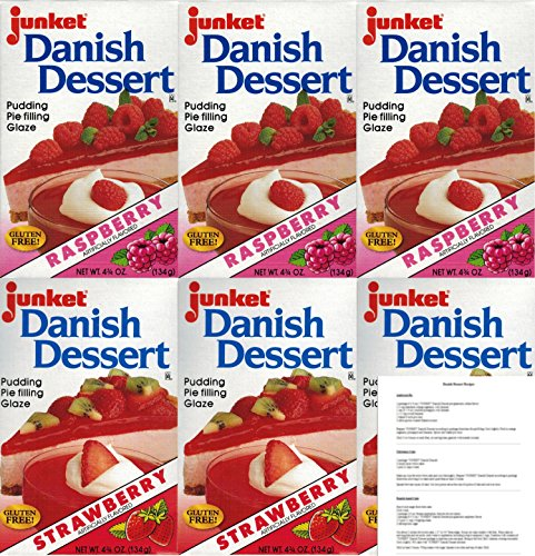 (Junket Danish Dessert Mix Bundle of 6 (3 Raspberry and 3 Strawberry) with Recipe Sheets)