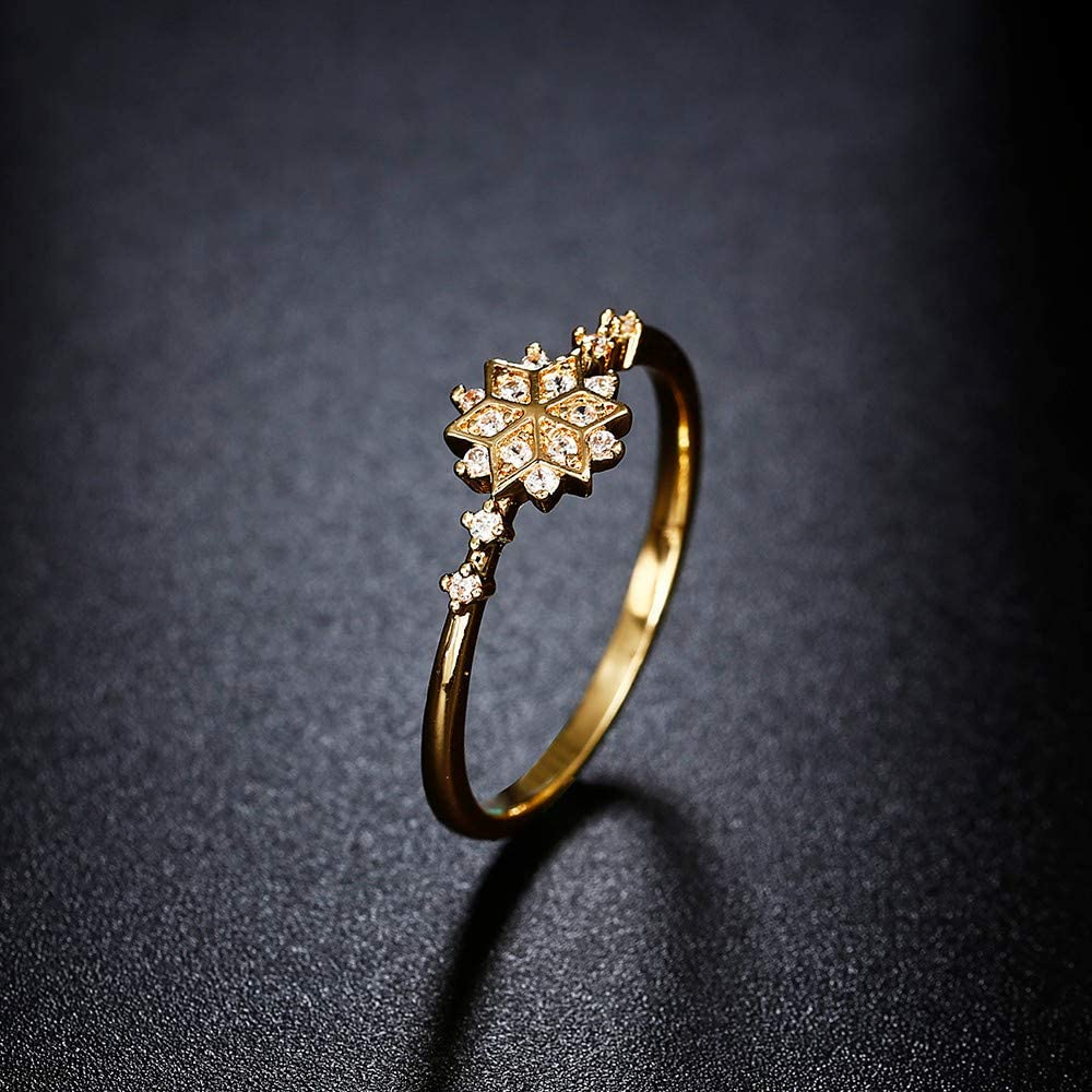 Yiwanjia Snowflake Shape Ring Engagement Gift Ring Diamond Ring Fashion Ring Daily Life Decoration Jewelry