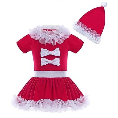 54df16a701881 Freebily Bébé Noël Vêtement Ensemble Robe + Chapeau Rouge Cosplay Costume  Bébé Fille Robe de Noël