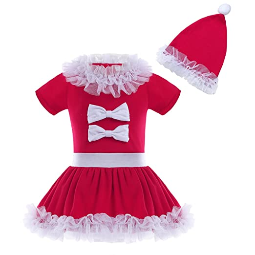 fc32b37e0 YiZYiF Infant Toddler Baby Girls Christmas Santa Outfits Cute Short Sleeve  Ruffles Top Dress + Hat