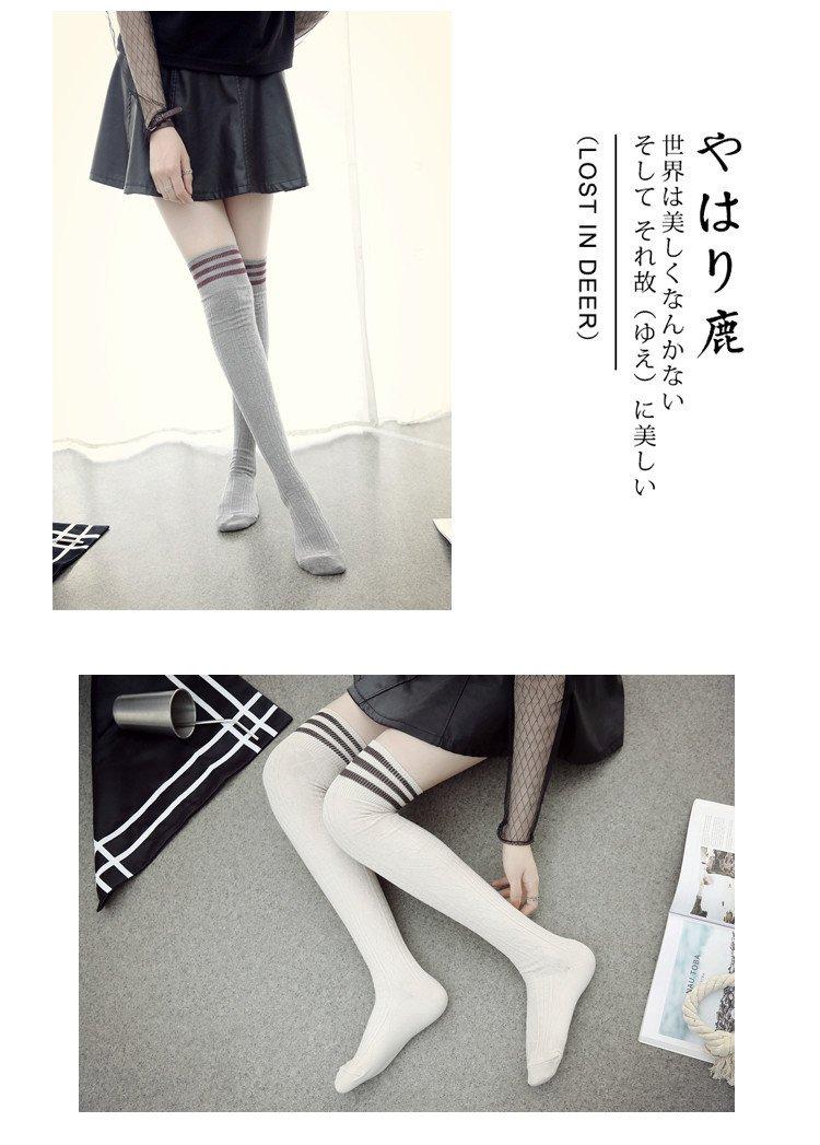 Generic women girls lady models fall socks School of wind temperament gray bar new long-barreled day bar piles of socks