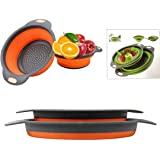 "Colander Set - 2 Collapsible Colanders (Strainers) Set By DLD - Includes 2 Folding Strainers. Sizes 8"" - 2 Quart, and 9.5"" -"