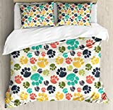 Ambesonne Dog Lover Duvet Cover Set Queen Size, Cute Hand Drawn Paw Print Doodles Circular Pattern Children Drawing Style Animal, Decorative 3 Piece Bedding Set with 2 Pillow Shams, Multicolor