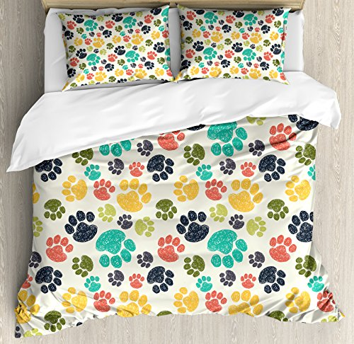 - Ambesonne Dog Lover Duvet Cover Set Queen Size, Hand Drawn Paw Print Doodles Circular Pattern Children Drawing Style Animal, Decorative 3 Piece Bedding Set with 2 Pillow Shams, Charcoal Beige