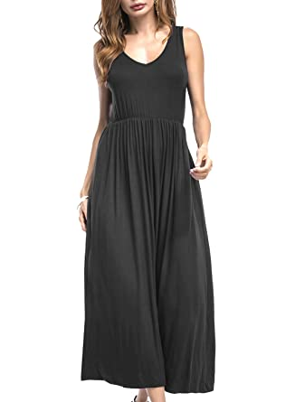 HELYO Long Dresses for Womens Summer Casual Sleeveless V Neck Solid Racerback Ladies Loose Plain Maxi
