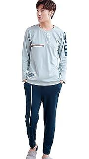 4386d2eb07 Battercake 2018 Men s Pajamas Blue Cotton Pajama Slim Fit Line A Comfortable  Two Piece Home Service