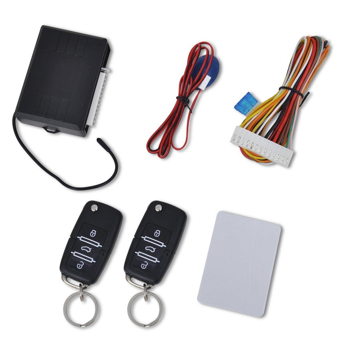 vidaXL Auto Zentralverriegelung Set+2 Funkfernbedienungen passt fü r Skoda Audi