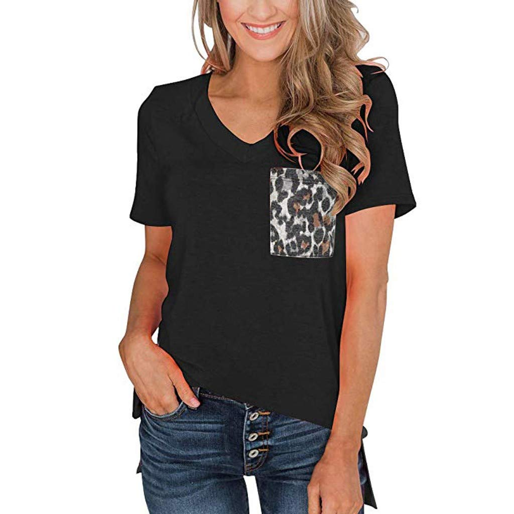 2019 New Women's Summer Casual Short Sleeves V Neck T Shirt Print Basic Tops with Leopard Pocket Black (Black, M) by Tanlo (Image #1)