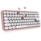 NACODEX 84-Key Pink Wireless Bluetooth Keyboard with Cute Retro Round Keycaps, Comfortable Ergonomic Typewriter Keyboard Comp