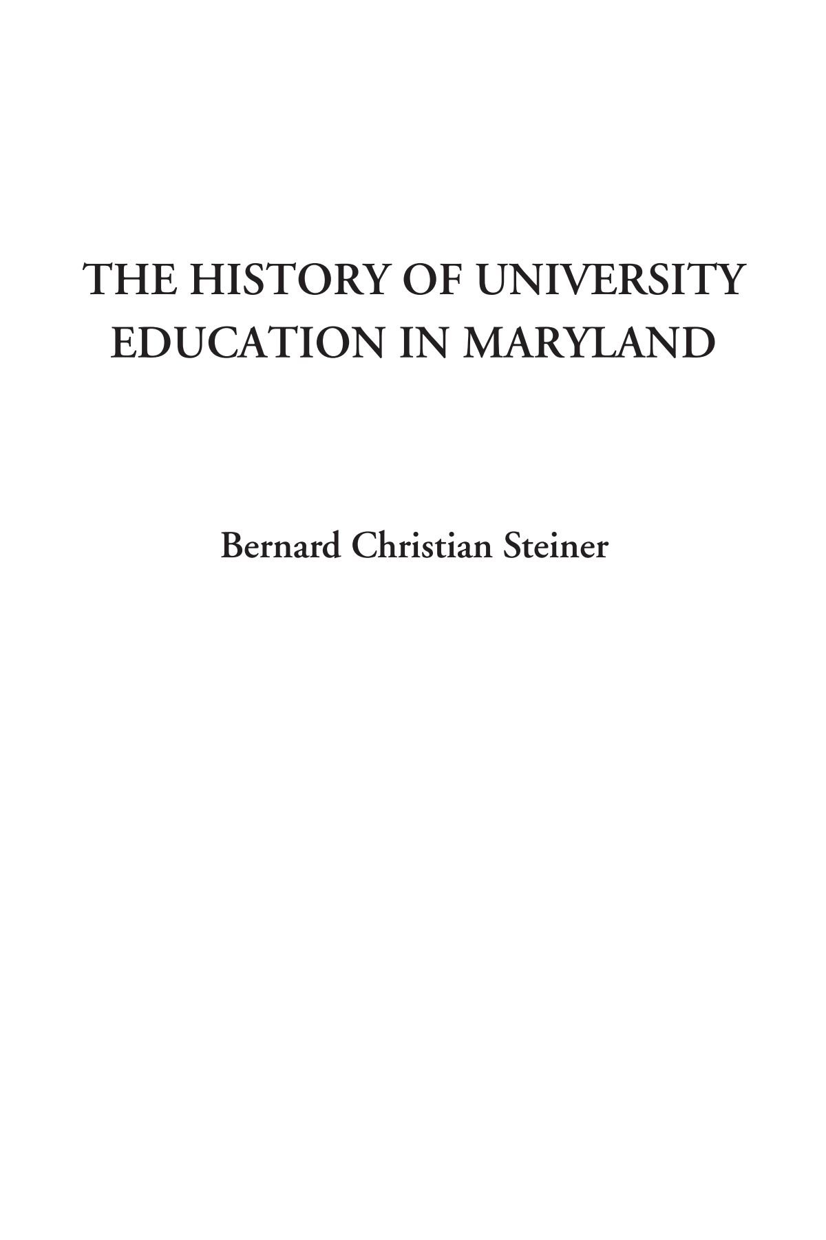 Download The History of University Education in Maryland pdf epub