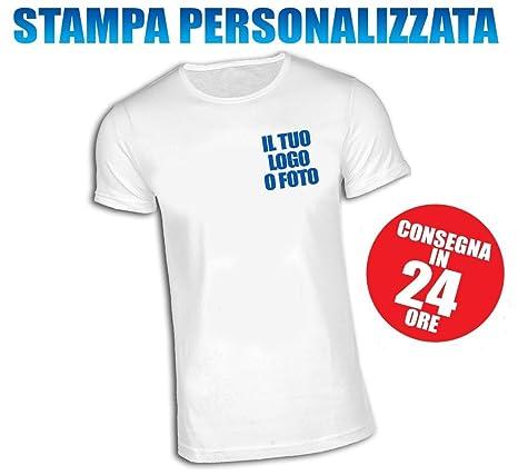 nuova collezione 28fa8 b6e0e T-SHIRT MAGLIETTA PERSONALIZZATA UNISEX STAMPA LATO CUORE MANICA CORTA  BIANCA TG. L