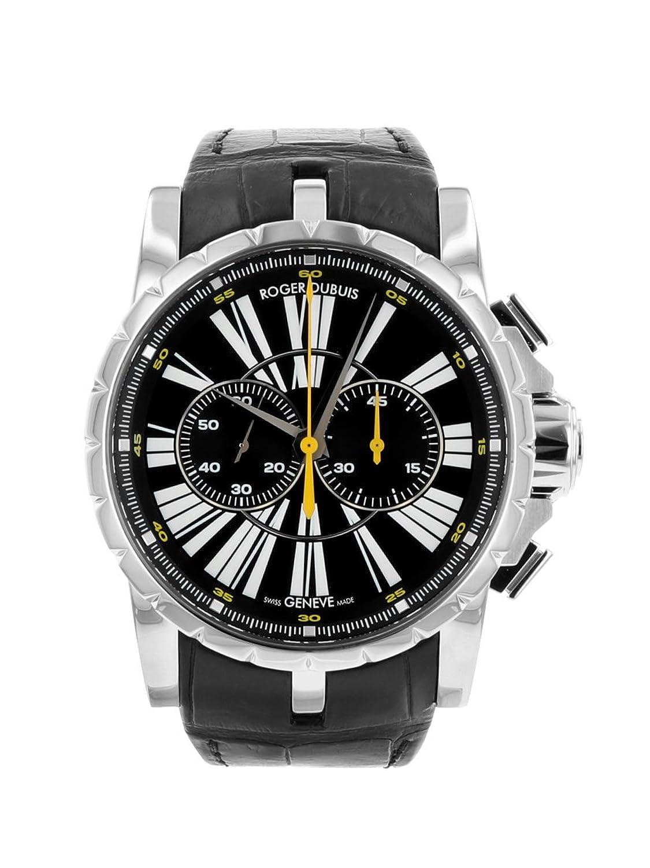 [ロジェデュブイ] 腕時計 ROGER DUBUIS DBEX0266 クロノグラフ SS/ブラックレザー ブラック文字盤 メンズ [中古品] [並行輸入品] B07FK7XLPJ