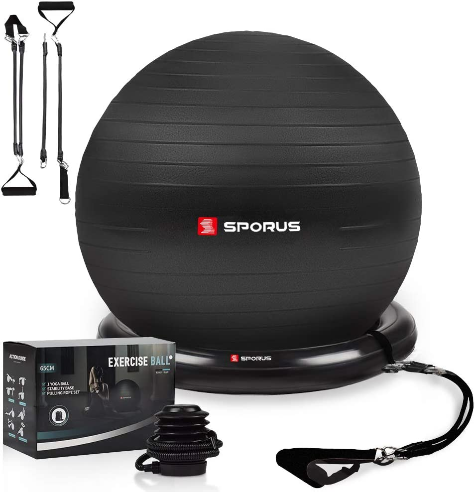Sporus Exercise Ball Chair (65cm), Yoga Ball for Office and Fitness with Stability Ball Base & Workout Poster, Improve Balance, Core Strength & Posture for Gym & Home [Quick Pump Included]