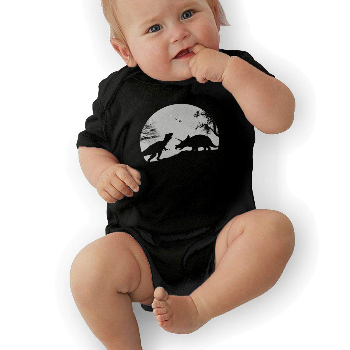 Short Sleeve Cotton Rompers for Baby Girls Boys Fashion Retro Style T Rex Silhouette Jumpsuit