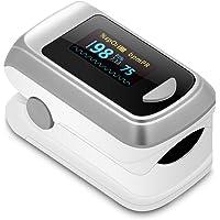 Monitor de saturación de oxígeno en sangre Bluetooth con aplicación para iPhone y Android, visualización OLED con punta de dedo SpO2, monitor de ritmo cardíaco con 2 pilas AAA y cordón