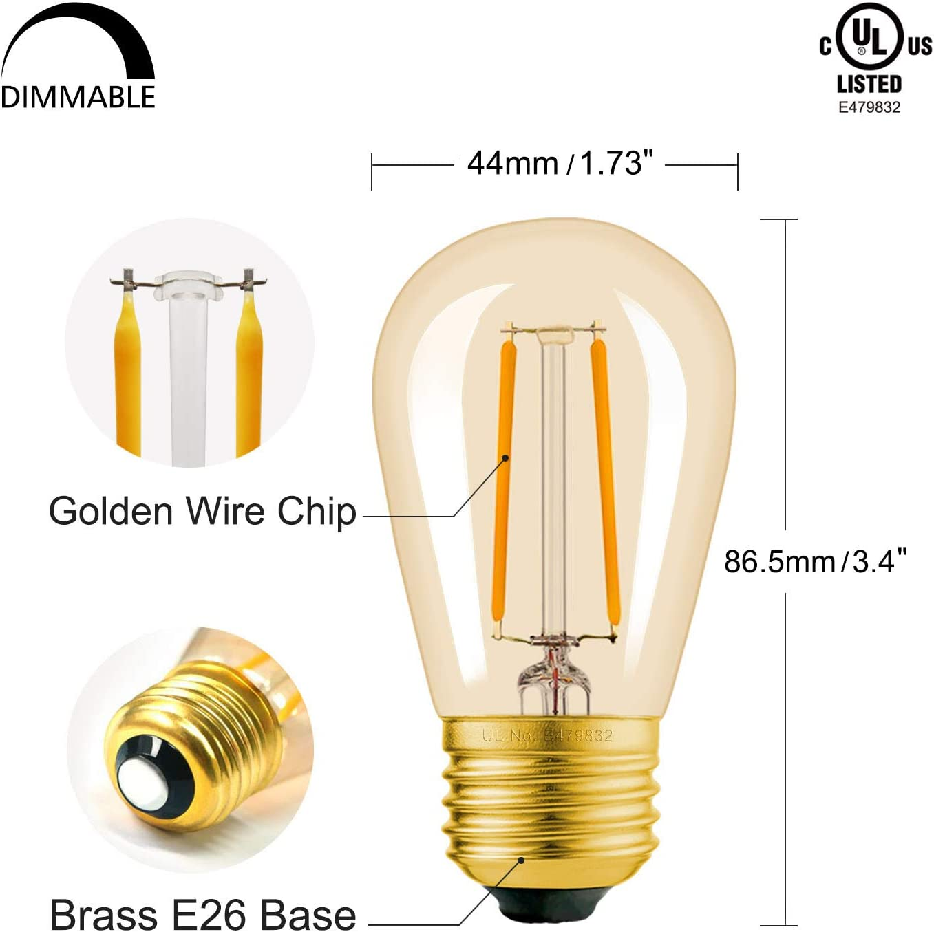 Luxsent S16 Theatre 1W Wedding 25 Pack Amusement Park Party Dining Area Medium Base Amber LED Decorative Bulb with Shine Line Light Bar 2200K Enlarged S14 Suitable for Outdoor Sign