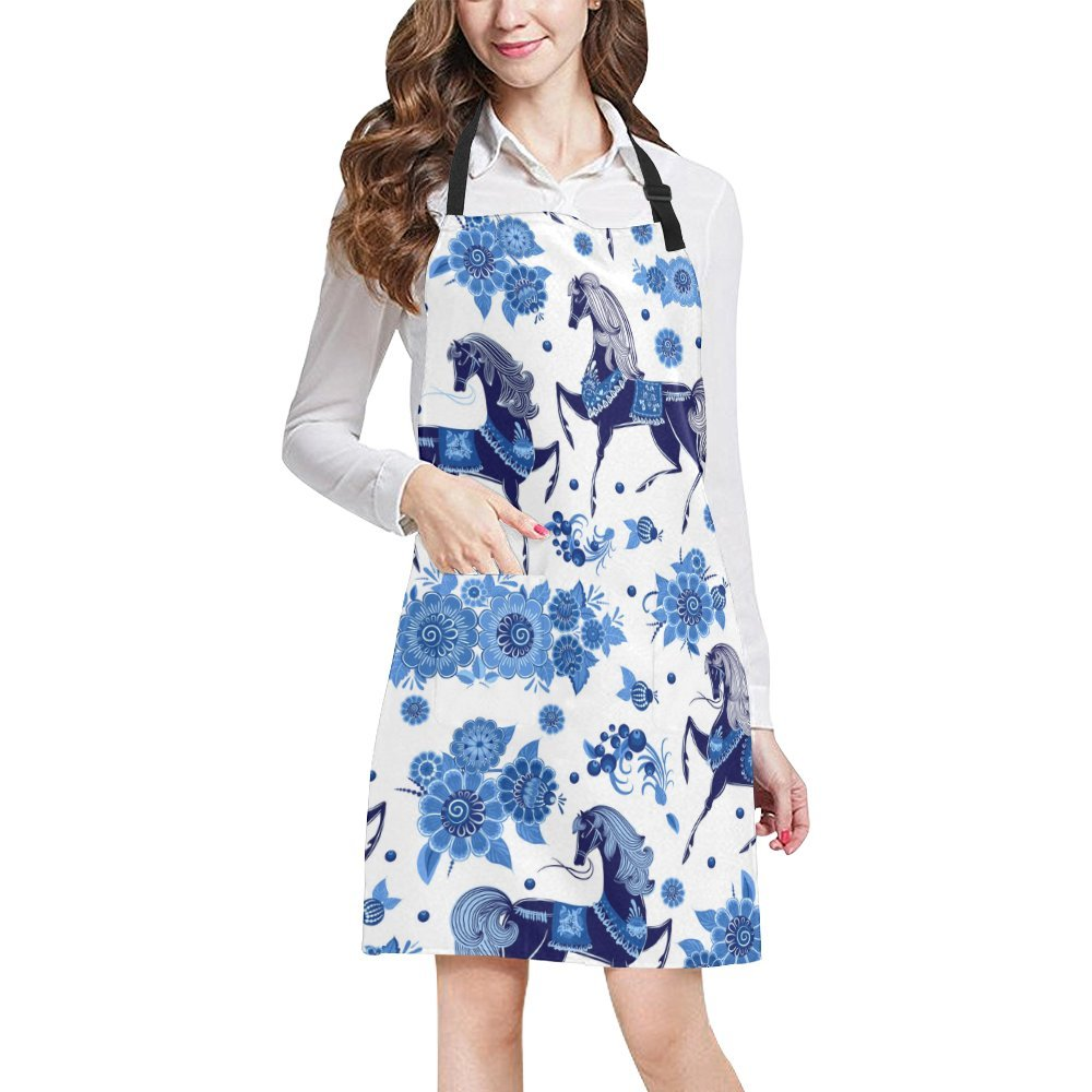 Kitchen Aprons Blue Flower And Horse Adjustable Bib Apron With Pockets For Women