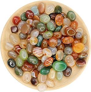 NINGYE Tumbled Polished Natural Agate Stones 1''-2'' 1.1 pounds Rocks for Plants Home Outdoor Decoration Vase Filling Landscape Succulents Bedding