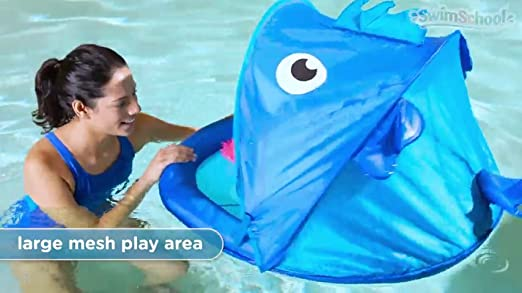 Retractable Canopy SwimSchool Blue Fun Fish Fabric Baby Boat Extra-Wide Inflatable Pool Float 6 to 24 Months Aqua Leisure-Domestic Toys ET9013B UPF 50