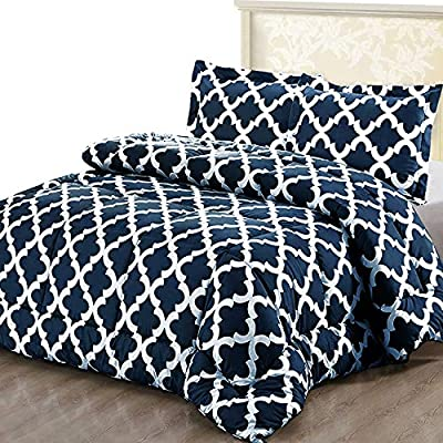 Utopia Bedding Printed Comforter Set (Queen, Navy) with 2 Pillow Shams - Luxurious Brushed Microfiber - Down Alternative Comforter - Soft and Comfortable - Machine Washable - COMFORTER SET - Goose down alternative Queen size comforter measuring 88 inches x 88 inches with two pillow shams measuring 20 inches x 26 inches with 2 inches flange; constructed using techniques that include better stitching and stronger weaving BRUSHED MICROFIBER - The brushed microfiber fabric is 100 percent polyester which provides an extremely soft and comfortable feel DURABLE - Solid pattern comforter is highly durable with a high tensile strength, making it strong and less likely to rip or tear; it is filled with siliconized filling - comforter-sets, bedroom-sheets-comforters, bedroom - 61hjKatb6RL. SS400  -