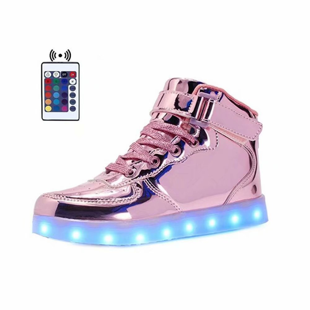 WONZOM FASHION High Top Velcro LED Light Up Shoes 7 Colors USB Flashing Rechargeable Walking Sneakers For Kids Boots With Remote Control(Toddler/Little Kids/Big Kids)-34(Shining Pink) by WONZOM FASHION (Image #1)